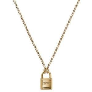 NWT Michael Kors gold toned long padlock necklace